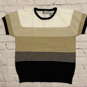 Striped Sweater in Black, White, Khaki - Sz M